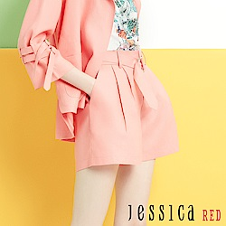 JESSICA RED - 粉橘亞麻釦環繫帶造型短褲