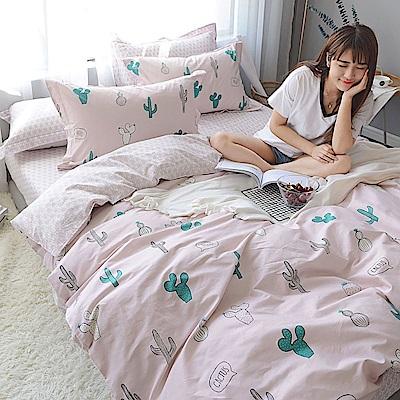 BUNNY LIFE 仙人掌-單人-文青風精梳棉床包被套組