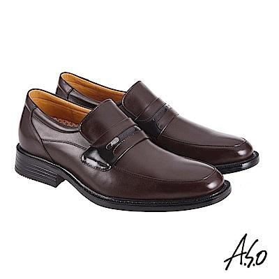 A.S.O機能休閒 萬步健康鞋 直套款商務休閒鞋 咖啡