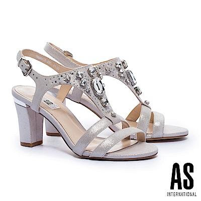 涼鞋 AS 華麗鑽飾全真皮美型T字高跟涼鞋-金