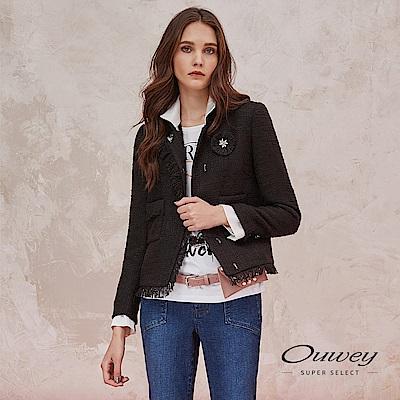 OUWEY歐薇 素面小香風抽鬚造型短版外套(黑)