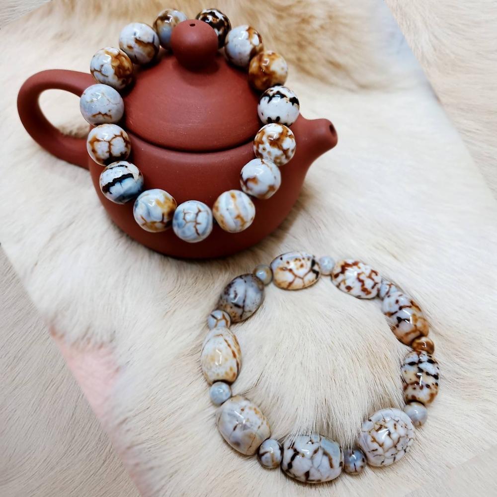 【古緣居】白龍麟玉石手鏈圓珠+橢圓珠兩款(情侶套組)