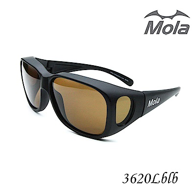 MOLA 摩拉大臉包覆式偏光太陽眼鏡/套鏡 UV400 近視可戴-3620Lblb