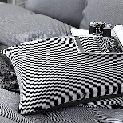 OLIVIA 天竺棉  見晴 灰  美式薄枕套 兩入   100%新疆純棉