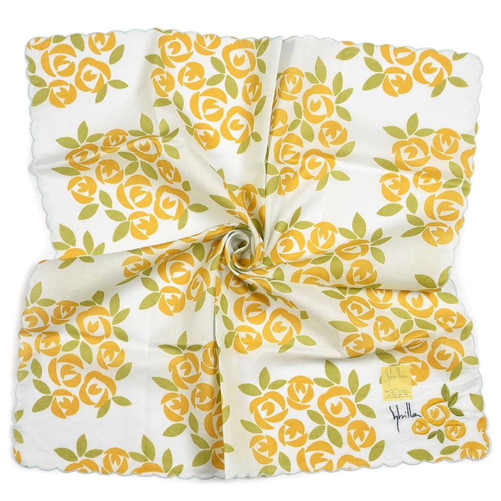 Sybilla 刺繡玫瑰波浪滾邊純綿帕巾-橘黃色
