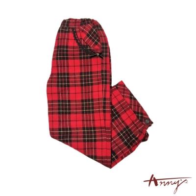 Annys聖誕紅格子學院風蕾絲邊蝴蝶結口袋長褲*2269紅