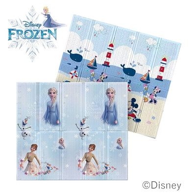 【Disney 迪士尼】攜帶型1.5CM摺疊遊戲墊- 冰雪公主+雲漫沙灘