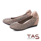TAS 水鑽雕花異材質拼接內增高娃娃鞋–冬季灰