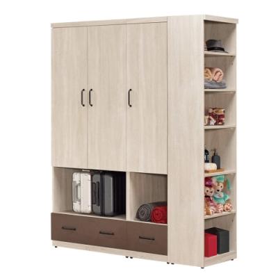 文創集 布拉森 現代5.1尺二抽三門衣櫃/收納櫃組合-152x59.5x197cm免組