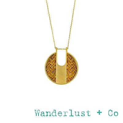 Wanderlust+Co 澳洲品牌 琥珀色編織圓牌項鍊 金色長項鍊 AMBER