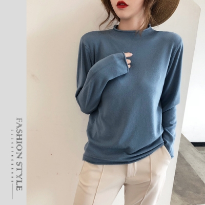 2F韓衣-簡約時尚百搭半高領針織上衣-5色(F)