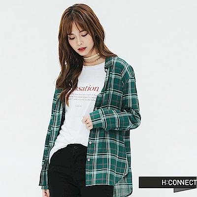 H:CONNECT 韓國品牌 女裝-輕薄亮眼格紋襯衫-綠