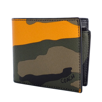 COACH軍綠橘色迷彩紋內置拉鍊袋雙摺對開男夾