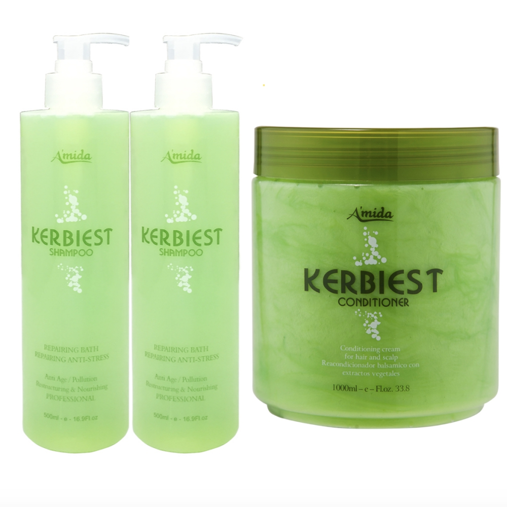 Amida葉綠素頭皮換季護理三件組(洗髮精500ml*2護髮素1000ml)