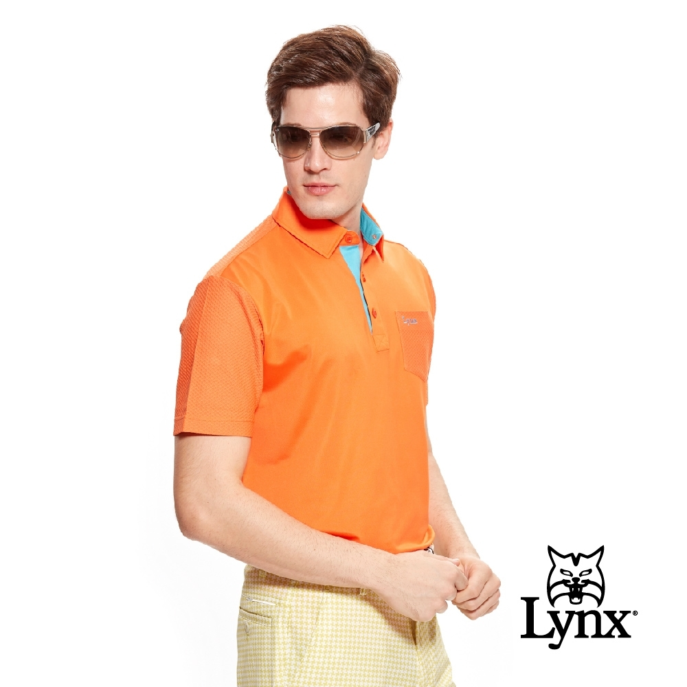 【Lynx Golf】男款蜂巢組織抗UV短袖口袋款POLO衫-橘色