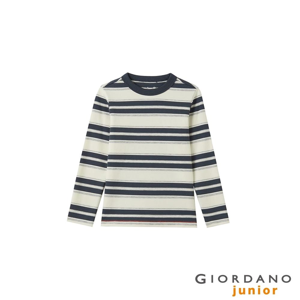 GIORDANO 童裝簡約厚磅長袖T恤 - 01 標誌灰
