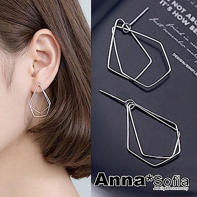 【3件5折】AnnaSofia 幾何錐疊線 925銀針耳針耳環(銀系)
