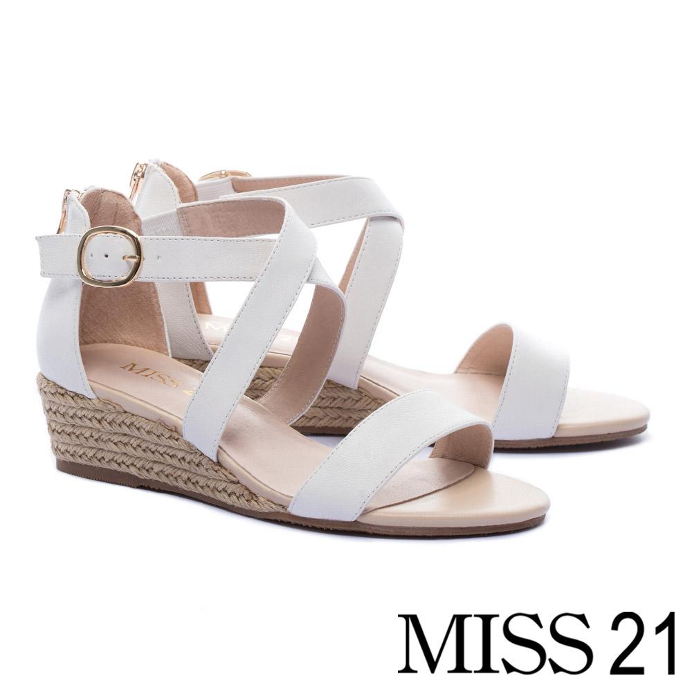涼鞋 MISS 21 百搭實穿一字交叉繫帶羊皮草編楔型高跟涼鞋-白