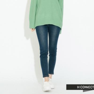 H:CONNECT 韓國品牌 女裝-微彈性簡約牛仔褲-藍