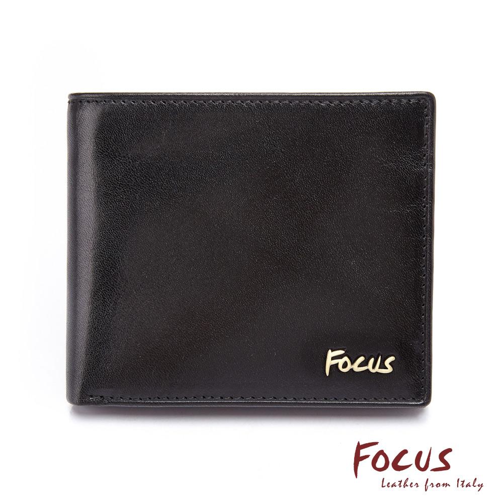 FOCUS原皮時尚黑透明窗左右掀拉鏈男短夾(FGB2246)
