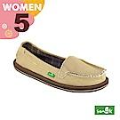 SANUK 女款US5 帆布素面內格紋娃娃鞋(卡其色)