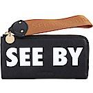 SEE BY CHLOE JORIS 字母標籤織帶拉環牛皮長夾(黑色)