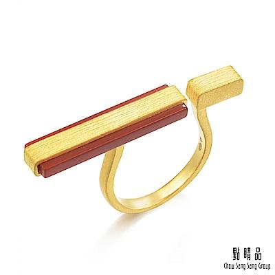點睛品g collection 矩形紅瑪瑙 黃金戒指