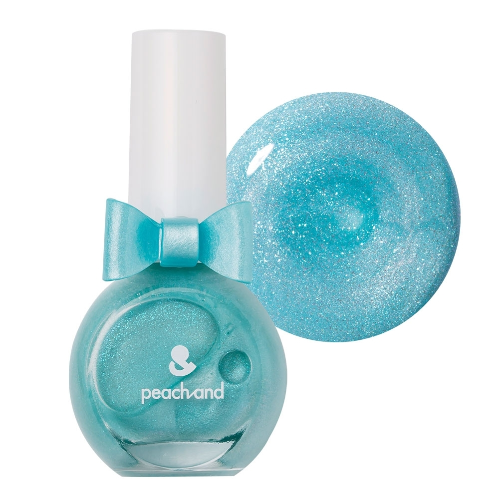 PeachAnd 兒童安全水溶性蝴蝶結指甲油 兒童孕婦專用彩妝 #灰姑娘閃亮藍