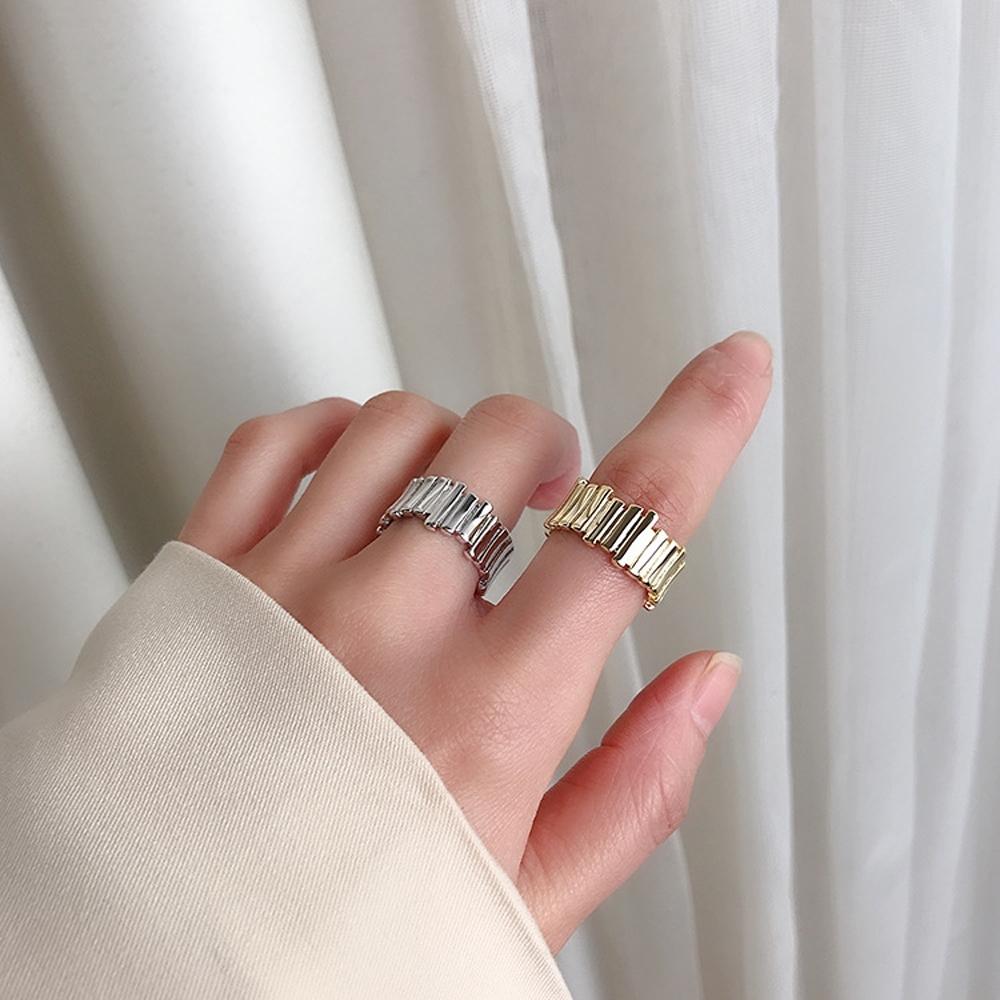 梨花HaNA 韓國小眾冷淡竹節金屬排飾戒指