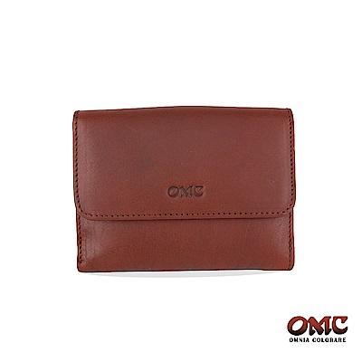 OMC 原皮系列-植鞣牛皮壓扣5卡透明窗雙格層零錢短夾-咖啡色
