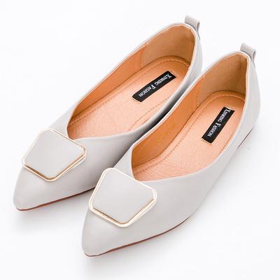 River&Moon中大尺碼-幾何扣飾Q軟橡膠平底尖頭鞋-灰