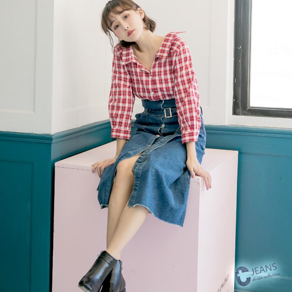 CANTWO韓版反摺排釦長裙