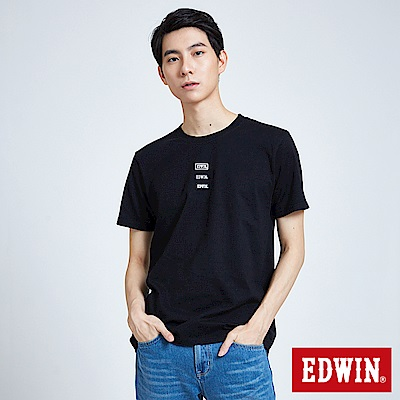 EDWIN 東京系列EDWIN徽章繡花短袖T恤-男-黑色