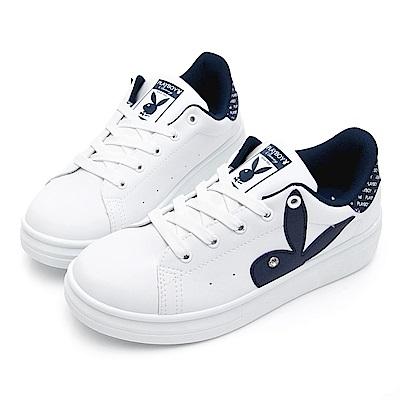 PLAYBOY 後跟品牌logo厚底休閒鞋-白藍-Y57181F