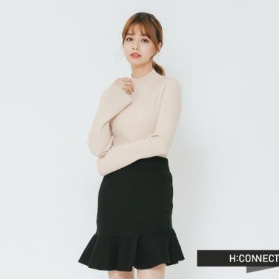 H:CONNECT 韓國品牌 女裝 - 小寬袖立領坑條上衣-卡其(快)
