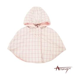 Annys夢幻可愛粉嫩格紋糖果鈕扣刷毛超保暖披風*2640粉紅