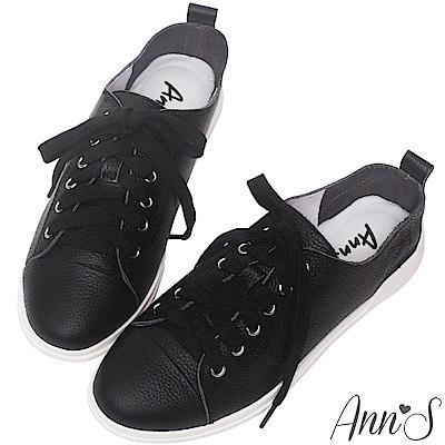 Ann'S第一代休閒舒適全真牛皮超軟綁帶小白鞋-黑