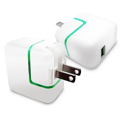 【UC01流行白】綠燈USB充電器(2A電流)