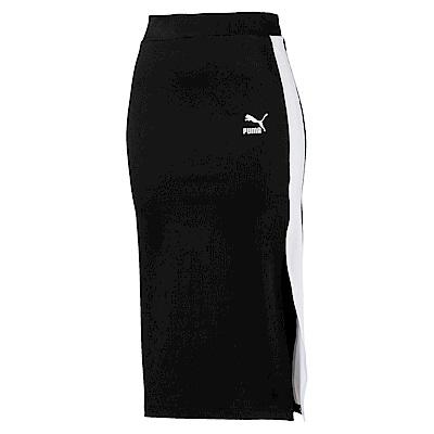 PUMA-女性流行系列經典羅紋側開短裙-黑色-歐規