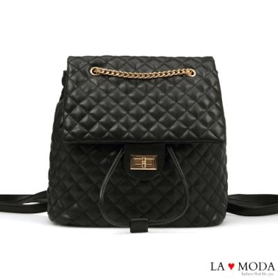 La Moda 不敗小香風菱格紋多背法大容量肩背後背包(黑)