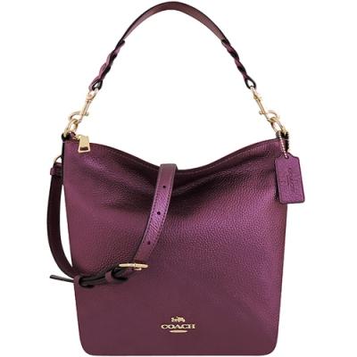 COACH 紫紅色光澤皮革肩背/斜背兩用包