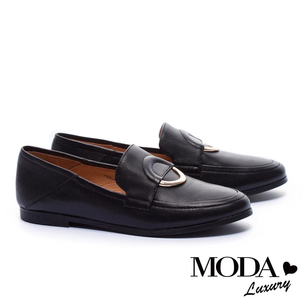 平底鞋 MODA Luxury 獨特中性圓釦裝飾樂福平底鞋-黑