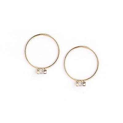 LOVER S TEMPO加拿大品牌 長方形水晶金色圓圈耳環