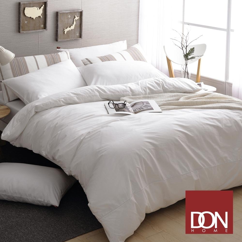 【DON】極簡生活 精梳純棉四件式被套床包組(單/雙/加大-多色任選) (晨光白)