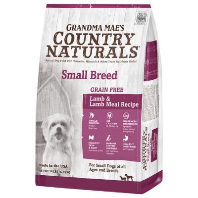 美國GRANDMA MAE S梅亞奶奶鄉村天然寵糧-小型全齡犬L.I.D.低敏無穀牧野羊 4LBS/1.81KG (兩包組)