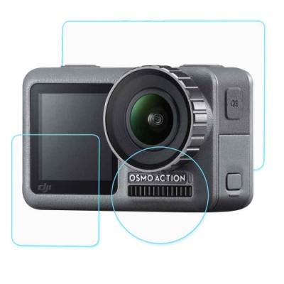 大疆 DJI OSMO Action 相機鏡頭+(前後)雙螢幕 鋼化玻璃膜 螢幕貼-3片裝