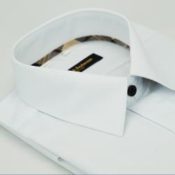 金‧安德森 經典格紋繞領白色斜紋黑釦吸排窄版長袖襯衫fast