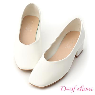 D+AF 優雅春氛.素面V口方頭低跟鞋*白