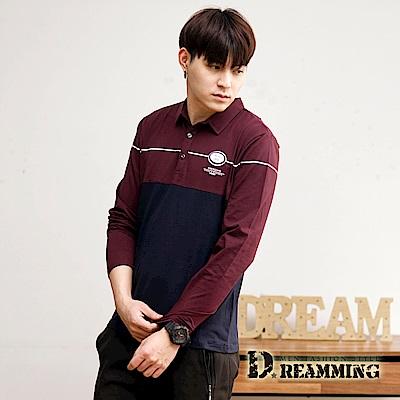 Dreamming 時尚徽章萊卡彈力長袖POLO衫-深藍