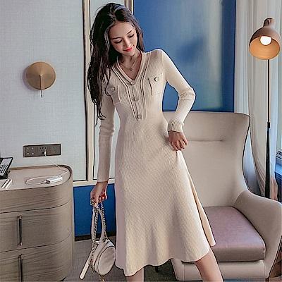 DABI 韓系收腰修身針織顯瘦性感V領鑲鉆長袖洋裝